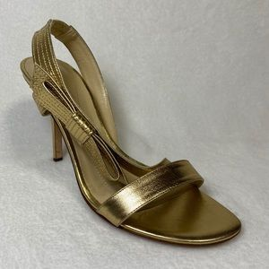 Kate Spade Gold Heels Sandals Bow Leather 8